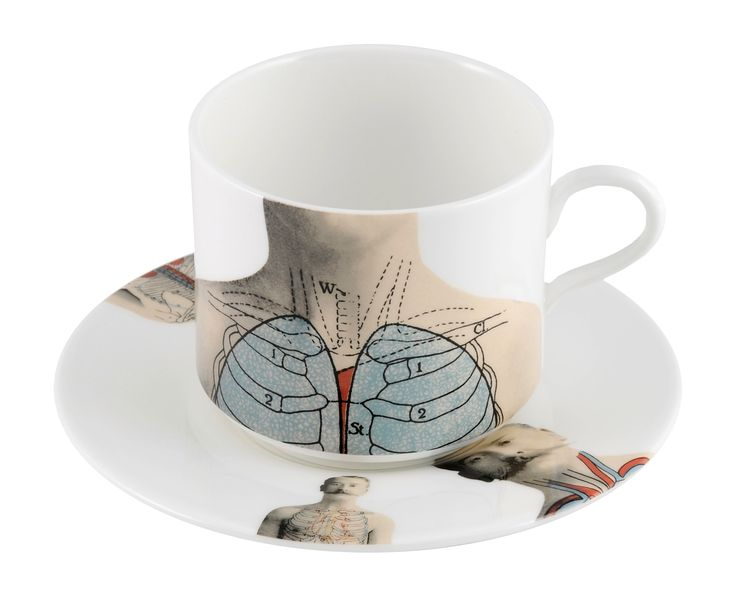 'Anatomica' Latte Cup & Saucer. A detailed piece taken from the cool 'Anatomica range, celebrating the beauty of the 'human machine' discovered in the 19th century. Inspired by wonderful illustrations found in anatomical books during that time, this collection features formal etchings designed by talented artist Lisa Turner. Dishwasher safe, Fine Bone China. Find out more here: https://thenewenglish.co.uk/collections/anatomica/products/anatomica-latte-cup-saucer-set #TheNewEnglish #Anatomica…