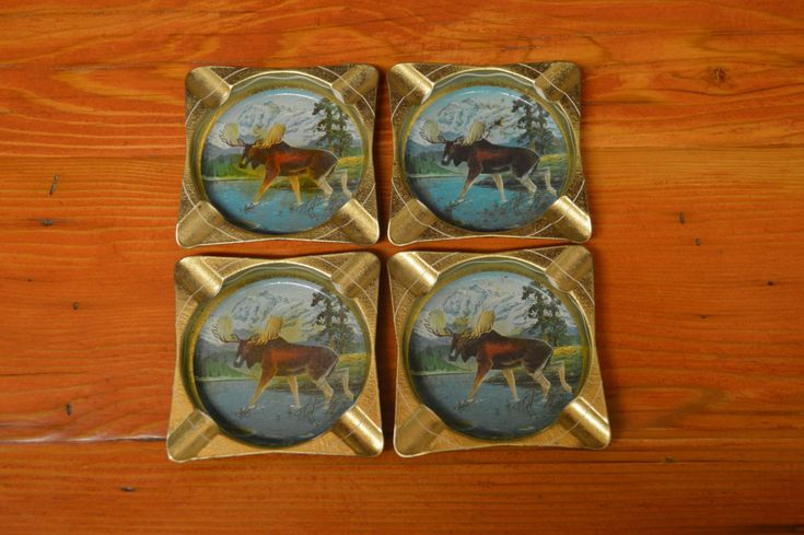Vintage metal moose ashtrays set of four cabin decor country western decor by…