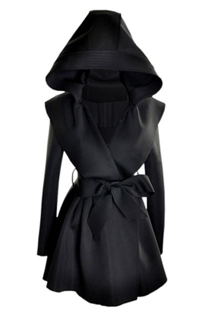 Slim Hooded Black Trench Coat - Soo ghastly! With this I will be able to act out the part of an assassin or secret agent!