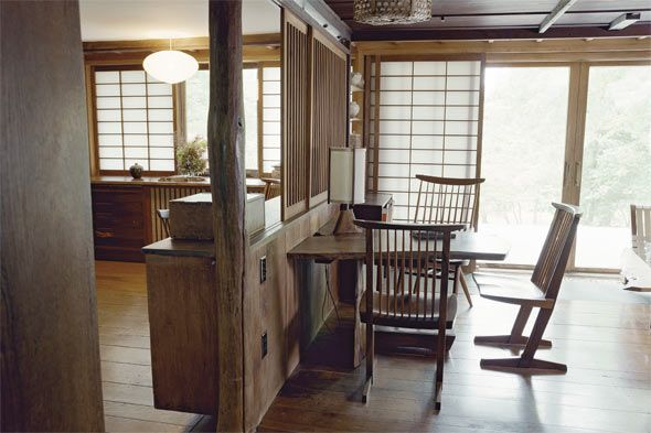 "The Pennsylvania home of George Nakashima. ""Artists' Handmade Houses"".  Photography by Don Freeman. Published by Abrams."