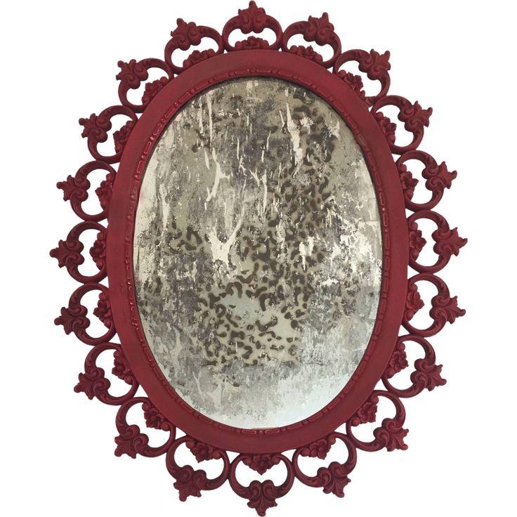 Vintage Mirror - Wall Art - Cottage Chic - Syroco Mirror - Leopard Print - Tarnished Mirror - Antiqued Mirror - Red Frame - Custom Mirror by prettySpeigel on Etsy https://www.etsy.com/uk/listing/517097626/vintage-mirror-wall-art-cottage-chic