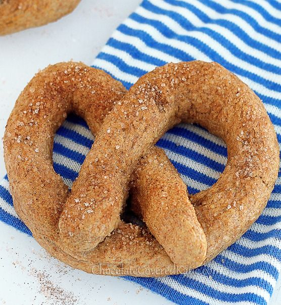 Homemade Cinnamon Sugar Soft Pretzels. Some of the comments on the post say these are even better than the ones from Auntie Anne's: http://chocolatecoveredkatie.com/2013/04/15/recipe-homemade-auntie-annes-soft-pretzels/