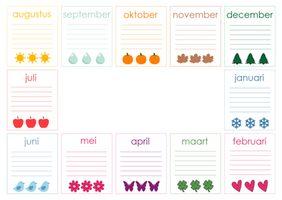 In menig klas bestaat de eerste teken/knutselles uit het maken van een verjaardagskalender. Op internet zijn er talloze leuke ideeën voor te vinden. Dit jaar wil ik echter de eerste expressielessen aan een andere opdracht besteden. En daarom heb ik een kant-en-klare verjaardagskalender gemaakt.