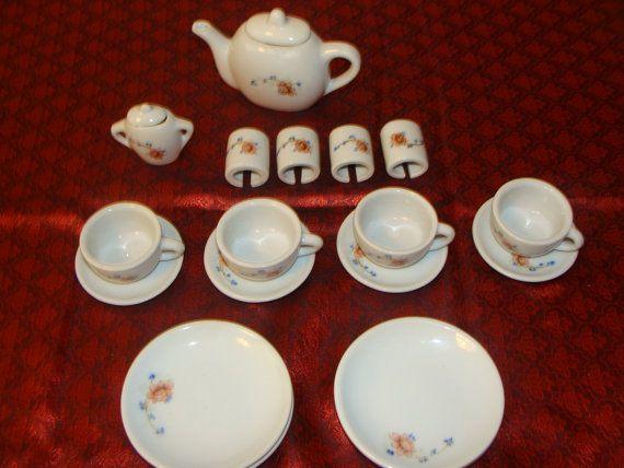Vintage Miniature Porcelain Tea Set 4 Settings by catherinefarrens, $9.99
