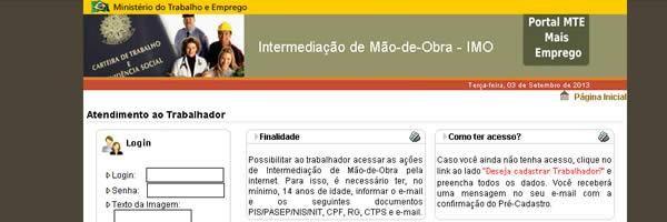 Tela de Login no Mais Emprego do MTE (maisemprego.mte.gov.br)