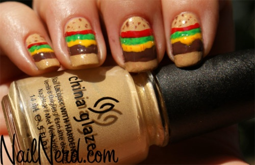 Taste the colors of ̶t̶h̶e̶ ̶r̶a̶i̶n̶b̶o̶w̶.....our nails?: Nails Art Ideas, Food Nails, Cheeseburgerscupcak Yummy, Nails Design, Cheeseburgers Nails, Nails Polish, Hamburg Nails, Cheeseburgersyummi Cupcakes, So Funny