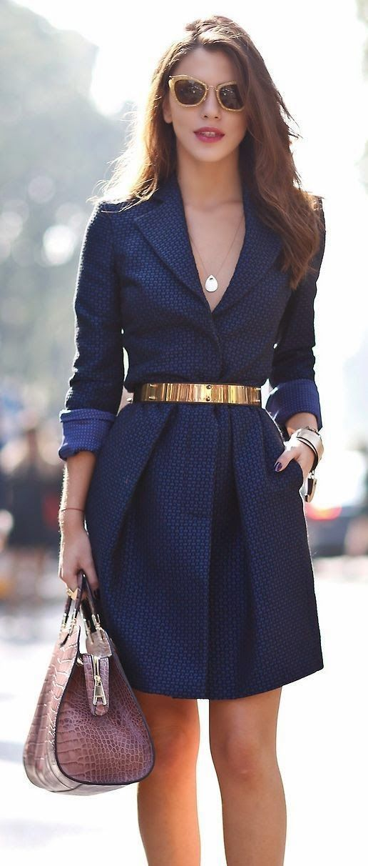 Gorgeous #royal navy #dress with #belt, she's timeless street style at ownow.com
