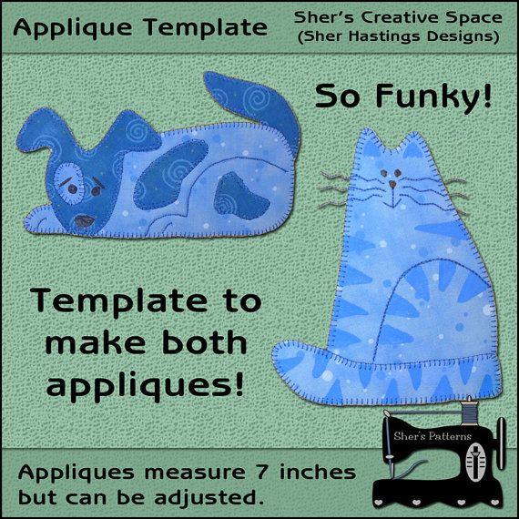 cat applique template, dog applique template