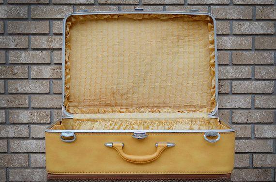 Vintage Yellow Suitcase - Amelia Earhart Suitcase - Extra Large Suitcase - Bright Yellow - Wedding Prop - Wedding Card Suitcase on Etsy, $42.00