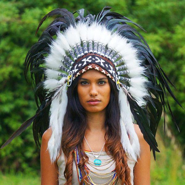 Indian Wedding Headdress: Black Native American Headdress - 75cm