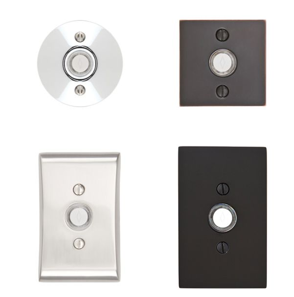 Emtek | Contemporary Door Bell Square Rosette button #2459 Satin Nickel