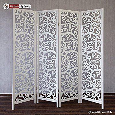 Homestyle4u 4 fach Paravent Raumteiler Holz Trennwand spanische Wand Sichtschutz Weiß: Amazon.de: Küche & Haushalt