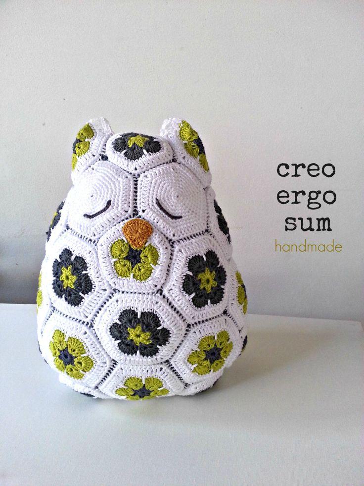 Crochet Owl Pillow  / Crochet Pillow /African Flowers/Owl / Big Soft Toy by CreoErgoSumHandmade on Etsy https://www.etsy.com/listing/205759792/crochet-owl-pillow-crochet-pillow