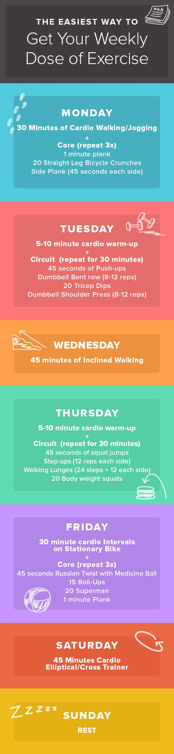 Follow this guide for getting in the recommended 2.5 hours exercises to maintain a healthy heart. This cardio strengthening  routine is easy to follow. No gym is required.