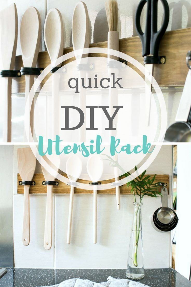DIY Home, DIY Home Decor, DIY Utensil Rack, Utensil Rack, Easy Utensil Rack, Simple DIY, Easy DIY, DIY for Less, Cheap Home Decor, Inexpensive Home Decor, Popular Pin, Home Organization, Kitchen Decor, DIY Kitchen Decor