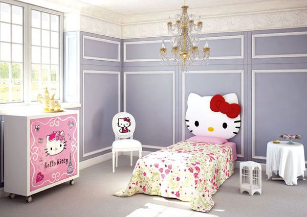 Hello Kitty headboard... A lovely and awesome bedroom for a little girl. #HelloKitty #Bedroom #Furniture