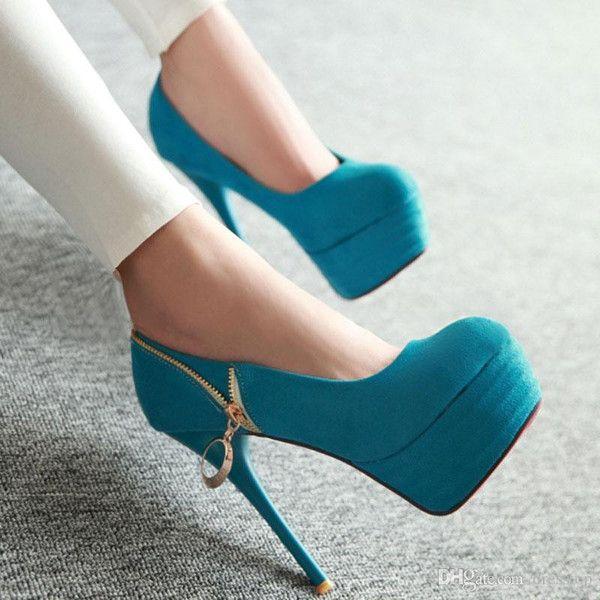 Sexy High Heels Women's  Metal Pendant Zipper Dress Shoes