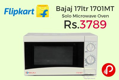 Flipkart is offering 28% off on Bajaj 17ltr 1701MT Solo Microwave Oven at Rs.3789. Bajaj solo microwave oven to perform easy cooking, reheating, and defrosting. You can save time and energy spent in the kitchen, thanks to the convenient features offered by this oven. Go on and invest in this oven and enjoy making delicious food whenever you feel like. Win Flipkart e-Gift Voucher worth Rs.1Lac, iPhone 7…