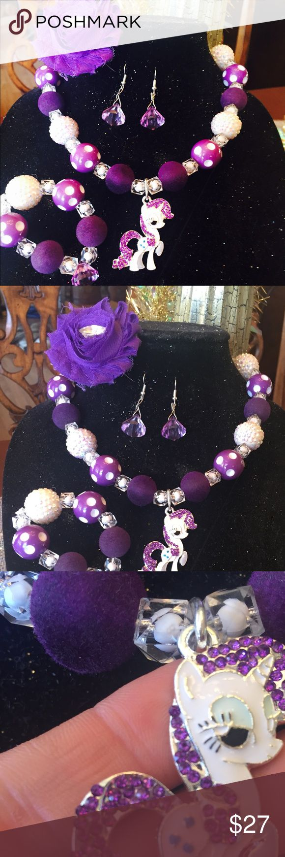 My little pony rarity 4 piece set Absolutely beautiful and custom My Little Pony Jewelry Necklaces