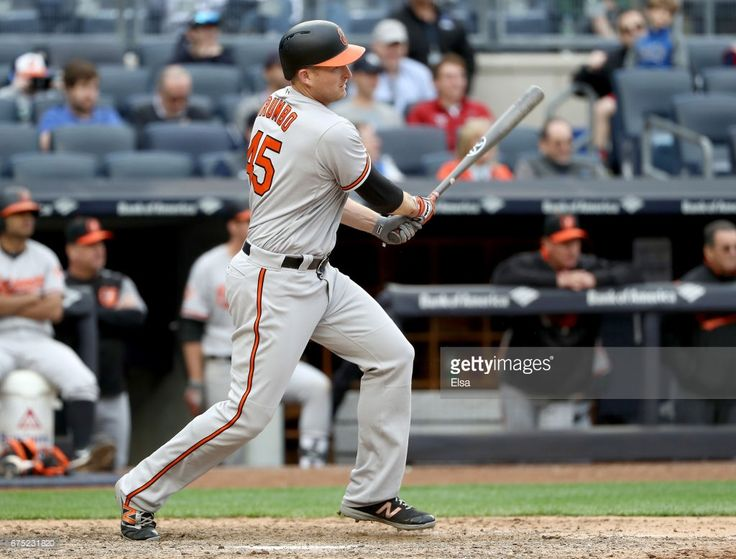Mark Trumbo #45 of the Baltimore Orioles drives in the game winning run in the 11th inning against the New York Yankees on April 30, 2017 at Yankee Stadium in the Bronx borough of New York City.The Baltimore Orioles defeated the New York Yankees 7-4 in 11 innings