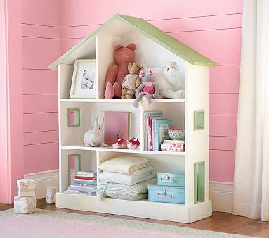 playroomBookshelves, Little Girls Room, Storage Shelves, Kids Room, Pottery Barn Kids, Pottery Barns Kids, Dollhouse Bookcases, Dolls House, Doll Houses