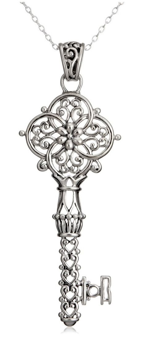 "Sterling Silver Filigree Key Pendant, 18""  by Amazon.com Collection"