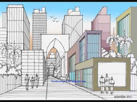how to draw a city one point perspective