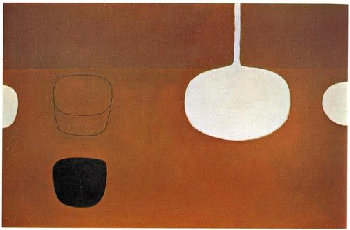 William Scott Still Life Brown with Black Note: Oil On Canvas