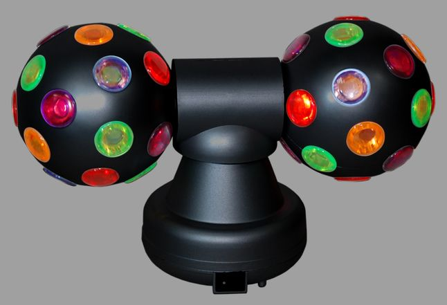 Vrolijk je feestjes op met deze dubbele, roterende Discobal en dans tot je erbij neervalt.