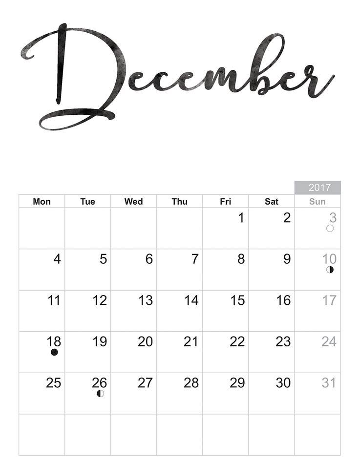 2017 December - Free printable Sheet