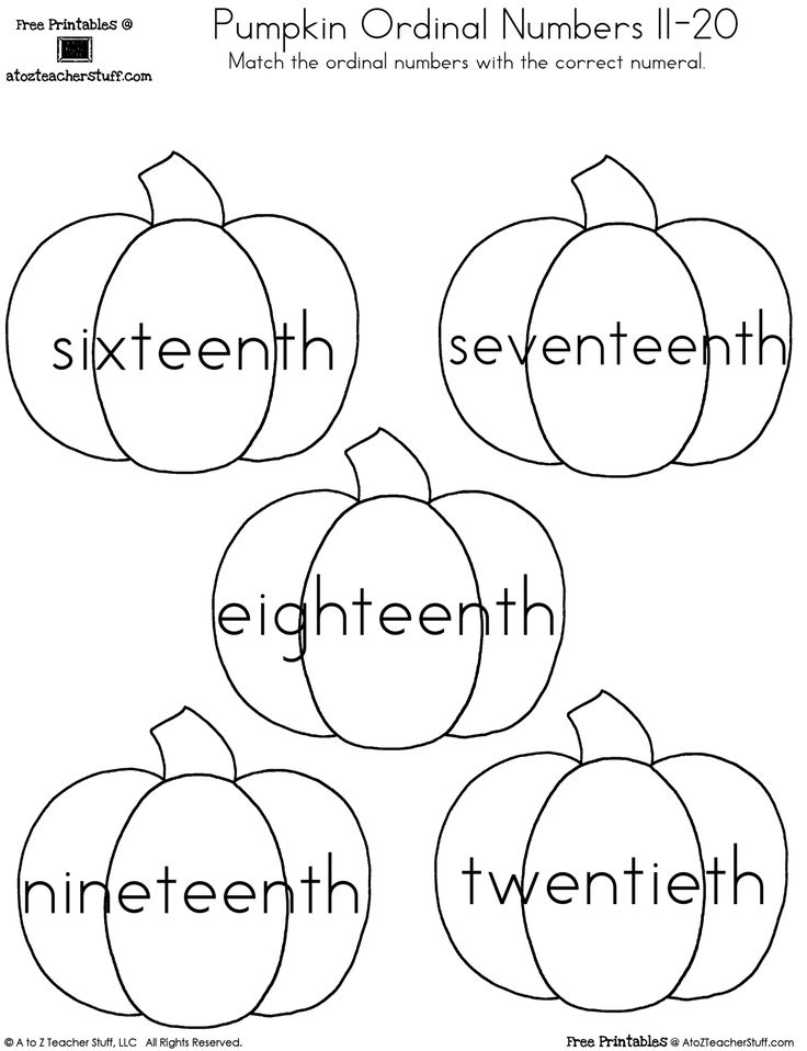 Pumpkin Ordinal Numbers 1-20 | A to Z Teacher Stuff Printable Pages and Worksheets