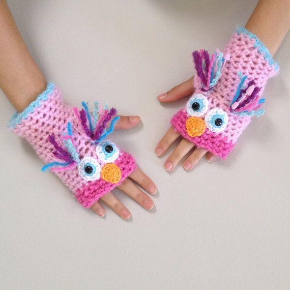 Pink Owl Fingerless Mittens