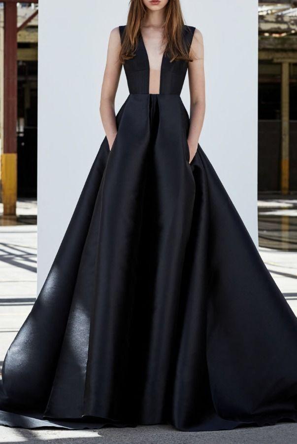 7d4c6043 Alex Perry Axel Black Italian Silk Sleeveless Ball Gown | Poshare ...