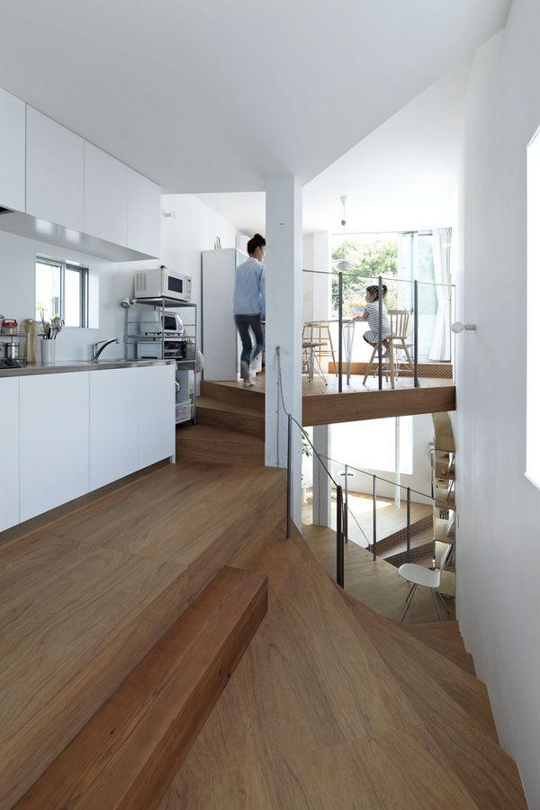 Coil by Akihisa Hirata | a house shaped like the letter S: Spirals Stairca, Small Kitchens, Interiors Design, Wooden Stairca, Small Spaces, Akihisa Hirata, Modern Kitchens, Modern Japan, Modern Design