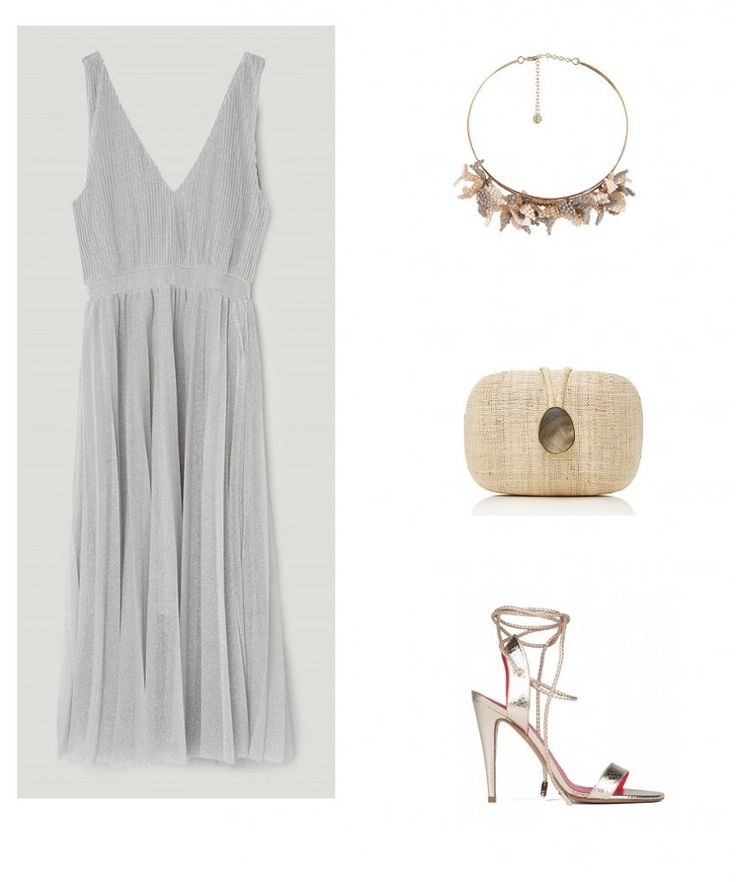 Time for Fashion » Style Consultancy. Silver midi dress+golden lace-up heeled sandals+nude clutch+gold and beige floral necklace. Summer Morning Wedding Guest Outfit 2017