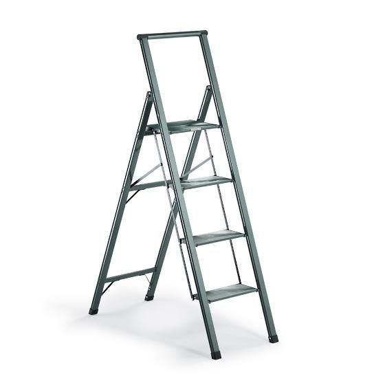 Closet Ladder...Weighing a mere 11 lbs. and measures just 2 when folded, our Ultralight Slimline 4-Step Aluminum Ladder is our lightest deep-step ladder. It's crafted from aircraft-grade aluminum and features an 8-1/2-deep nonslip platform for extra stability.Nonmarring leg tips with nonslip rubber feet protect floors while keeping the ladder steady.Conforms to ANSI Type I commercial standards250-lb. capacityJust 2 thick when folded8-1/2-deep top platformView operating instructions