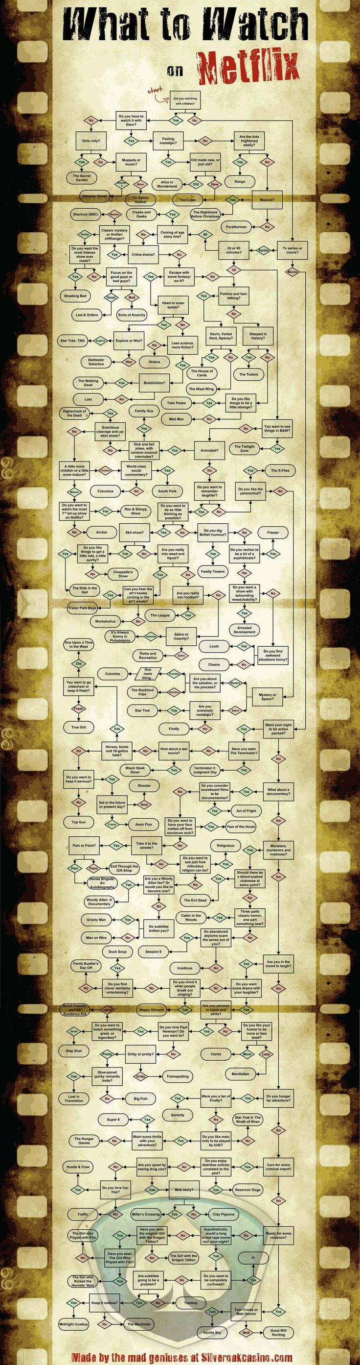 Don't know what to watch on Netflix?  Follow this handy dandy flowchart!