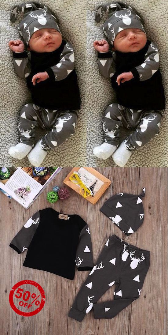 Baby Boy Deer printed outfit sets. 50% Off + Free Shipping