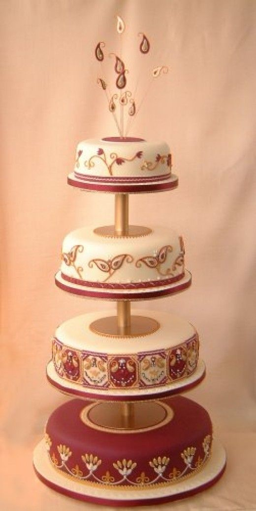 Simple Indian Wedding Cake. use teal and silver instead of burgandy and gold