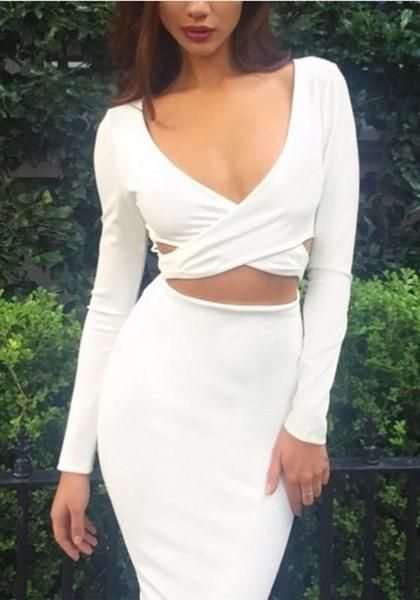 42071ec868 White Cut Out Bodycon Deep V-neck Long Sleeve Homecoming Prom Party Midi  Dress