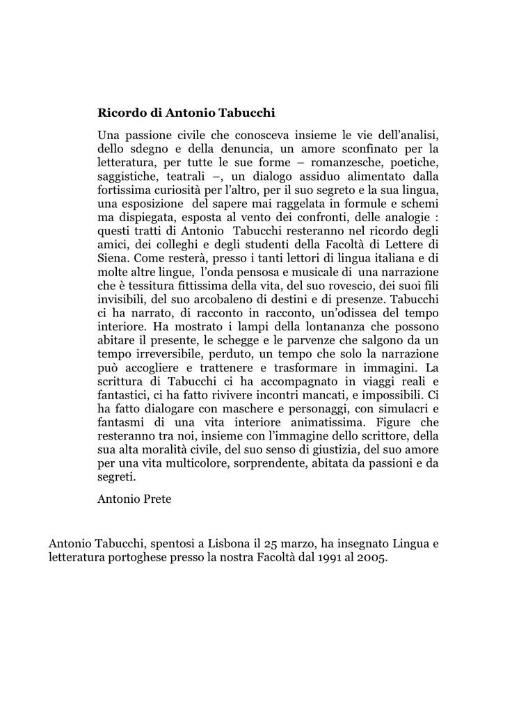 Antonio Prete ricorda Antonio Tabucchi