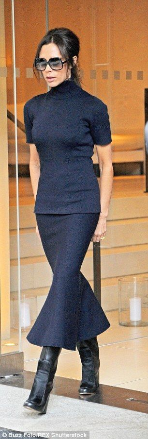 Never underdressed: The shape of Victoria's skirt added a luxurious feel to her daytime attire, allowing her a sexy swish as she walked out of the Madison Avenue-based building