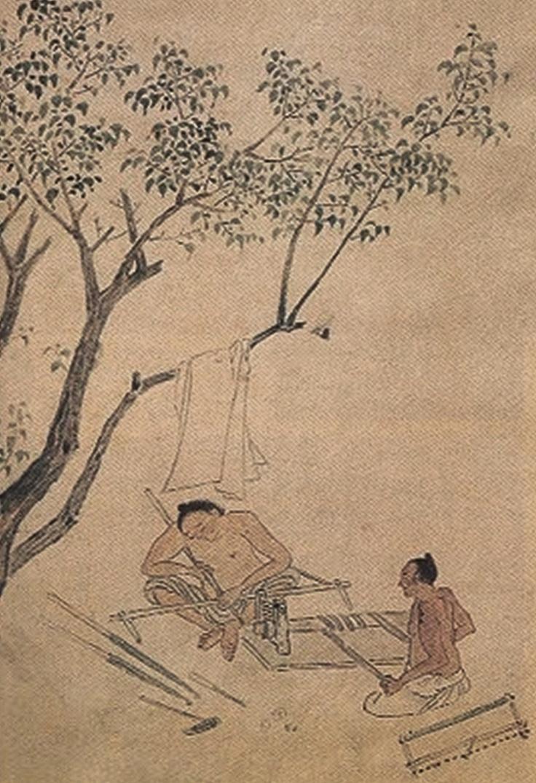 한국에 살고있는 철수와 동희는 나무를 깎고 만듭니다.  (조영석, 목기깎기)