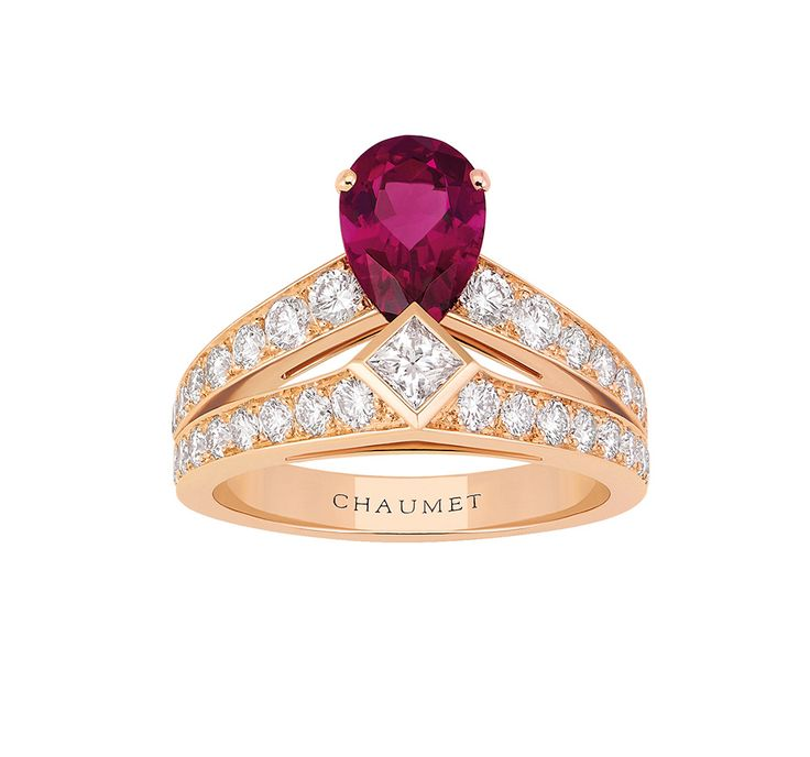 Chaumet Josephine ring in pink gold with diamonds and a pear-shaped rubellite (£8,302; chaumet.com).