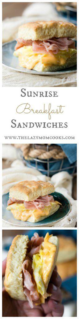 Sunrise Breakfast Sandwiches with Greek Yogurt Biscuits, Scrambled Eggs, Ham, and good old fashioned American Cheese!