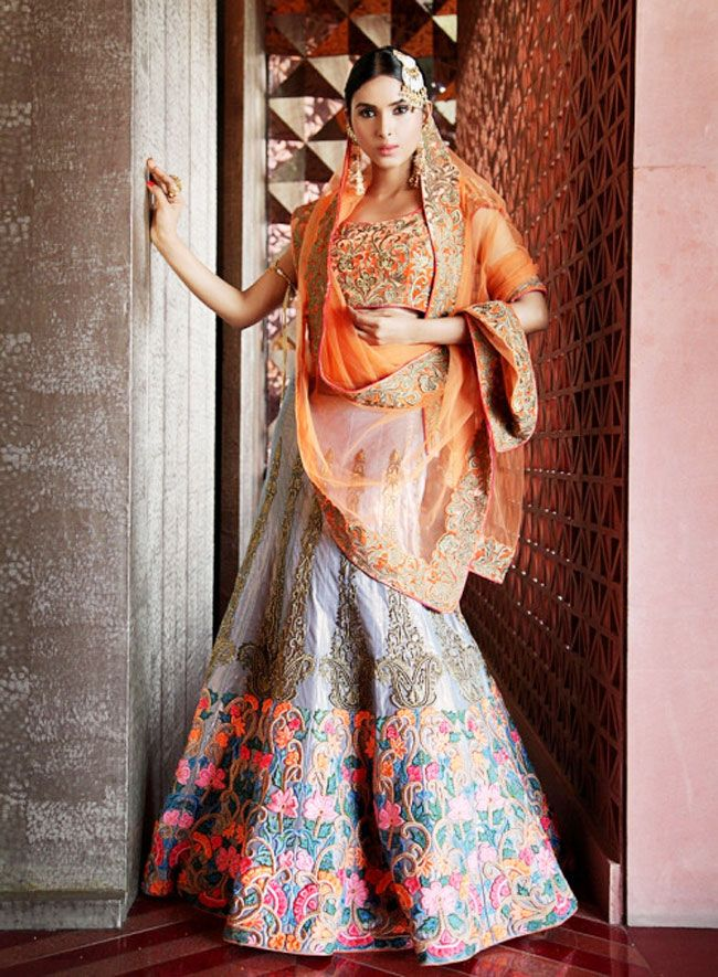 Orange and grey Mayyur Giortra lehenga design