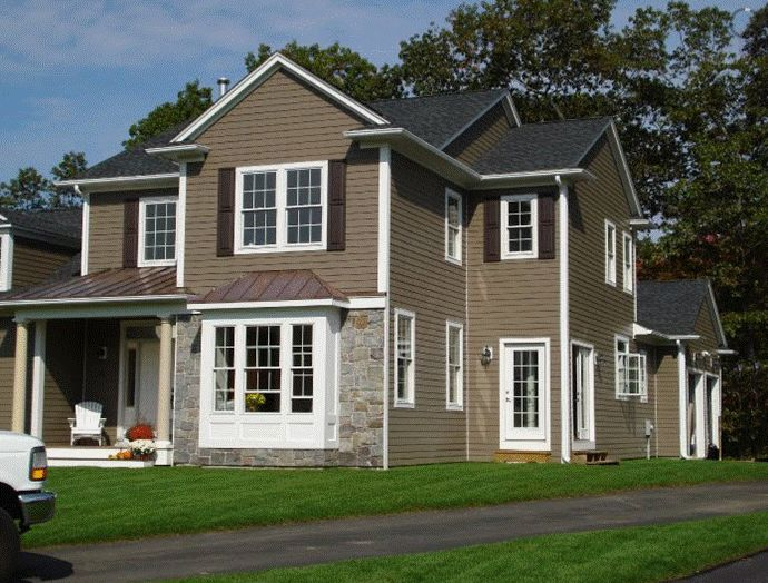 James Hardie Celect Cedarmill In Timber Bark Color, Like The White Trim,  Charcoal Roof A Little Different Stone.