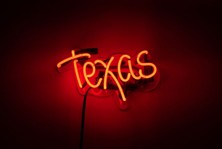"""Texas Neon Sign --- Show your immense, yet completely rational, state pride with our 'Texas' neon sign. Available now at noblegasindustries.com --- Sign measures 12"""" Wide   7"""" Tall   3"""" Deep #Texas #Texan #UT #Longhorns #University"""
