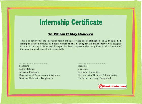 internship certificate sample