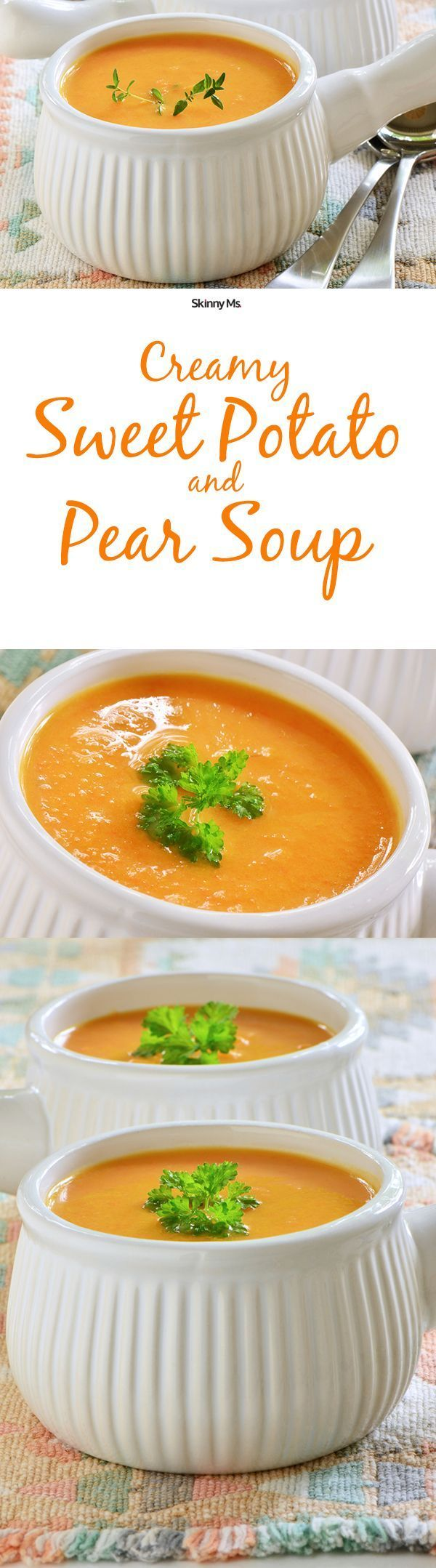 Creamy Sweet Potato and Pear Soup is only 93 calories per serving!